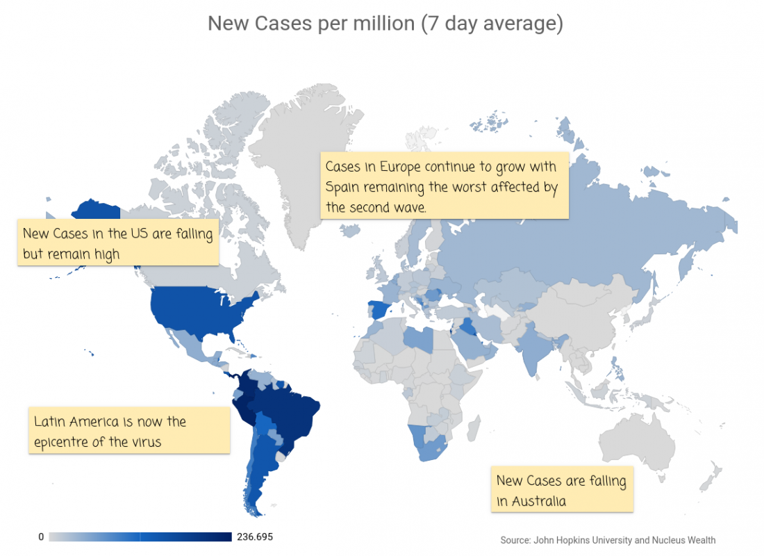 COVID19: Global Map New Cases per million 20201808