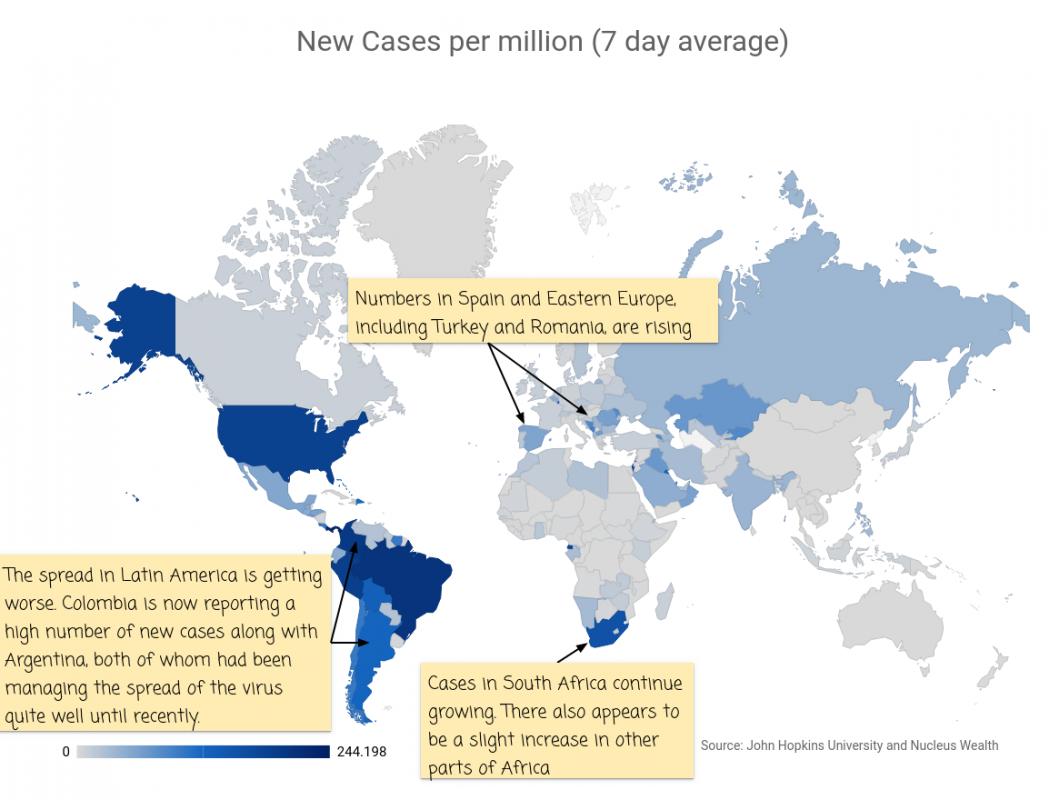 COVID19: New Cases per million World Map