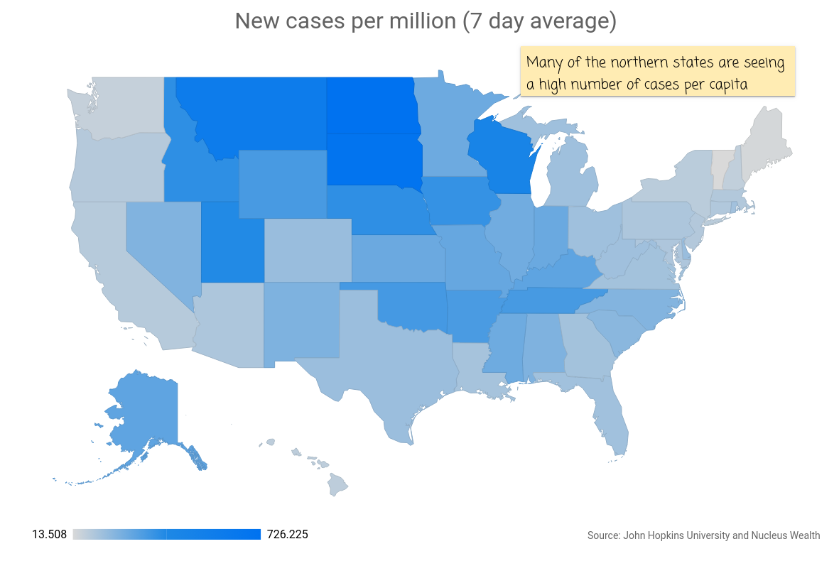 COVID19: USA Map states cases per million